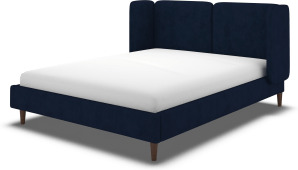 An Image of Ricola Super King Size Bed, Prussian Blue Cotton Velvet with Walnut Stained Oak Legs