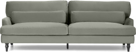 An Image of Tamyra 3 Seater Sofa, Sage Green Velvet with Black Legs