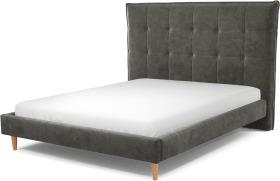 An Image of Lamas King Size Bed, Steel Grey Velvet with Oak Legs