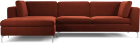 An Image of Monterosso Left Hand Facing Chaise End Sofa, Brick Red Velvet with Chrome Leg