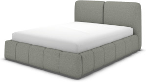 An Image of Maxmo Double Ottoman Storage Bed, Wolf Grey Wool