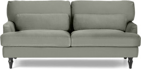 An Image of Tamyra 2 Seater Sofa, Sage Green Velvet with Black Legs