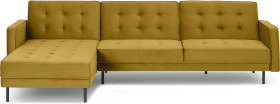An Image of Rosslyn Left Hand Facing Chaise End Click Clack Sofa Bed, Vintage Gold Velvet