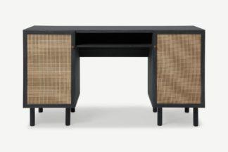 An Image of Pavia Desk, Natural Rattan & Black Wood Effect