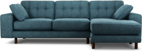 An Image of Content by Terence Conran Tobias, Right Hand facing Chaise End Sofa, Textured Weave Aegean Blue, Dark Wood Leg