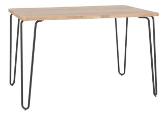 An Image of Habitat Tyler Ash and Black Metal 4-6 Seat Dining Table
