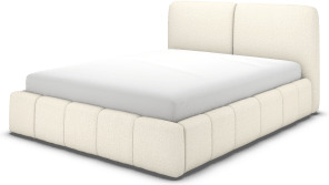 An Image of Maxmo Double Bed with Storage Drawers, Ivory White Boucle