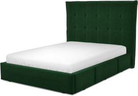 An Image of Lamas Double Bed with Storage Drawers, Bottle Green Velvet