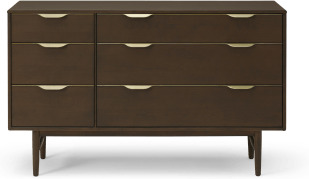 An Image of Mallory Wide Chest of Drawers, Walnut Stained Oak & Brass