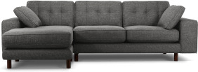 An Image of Content by Terence Conran Tobias, Left Hand facing Chaise End Sofa, Textured Weave Slate, Dark Wood Leg