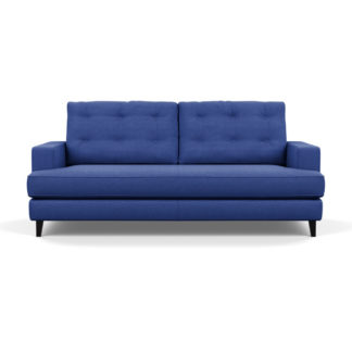 An Image of Heal's Mistral 3 Seater Sofa Brushed Cotton Cobalt Black Feet