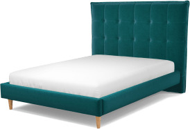 An Image of Lamas Double Bed, Tuscan Teal Velvet with Oak Legs