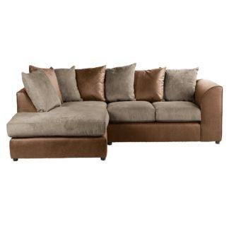 An Image of Blake Fabric Combo Left Hand Corner Sofa Chocolate (Brown)