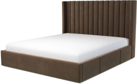An Image of Cory Super King Size Bed with Storage Drawers, Mushroom Taupe Cotton Velvet