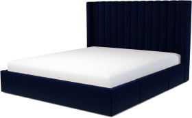 An Image of Cory Super King Size Bed with Storage Drawers, Prussian Blue Cotton Velvet