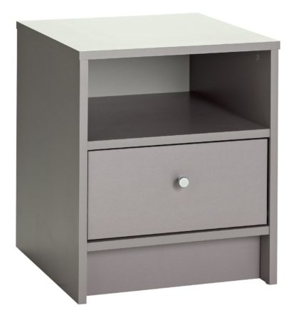 An Image of Habitat Malibu 1 Drawer Bedside Table - Grey