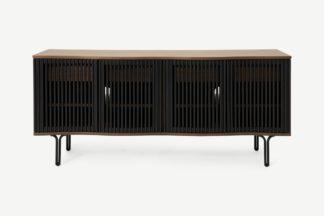 An Image of Zaragoza Wide Sideboard, Walnut & Charcoal Black