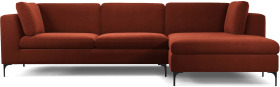 An Image of Monterosso Right Hand Facing Chaise End Sofa, Brick Red Velvet with Black Leg