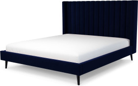 An Image of Cory Super King Size Bed, Prussian Blue Cotton Velvet with Black Stained Oak Legs