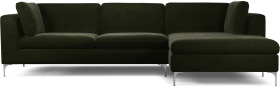 An Image of Monterosso Right Hand Facing Chaise End Sofa, Dark Olive Velvet with Chrome Leg
