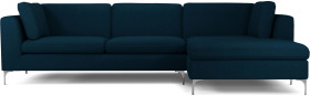 An Image of Monterosso Right Hand Facing Chaise End Sofa, Elite Teal with Chrome Leg