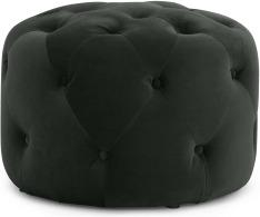 An Image of Hampton Round Pouffe, Small, Anthracite Grey Velvet