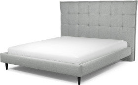 An Image of Lamas Super King Size Bed, Wolf Grey Wool with Black Stained Oak Legs