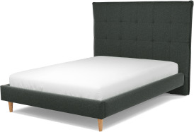 An Image of Lamas Double Bed, Etna Grey Wool with Oak Legs