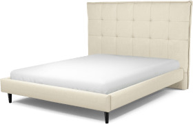 An Image of Lamas King Size Bed, Putty Cotton with Black Stained Oak Legs