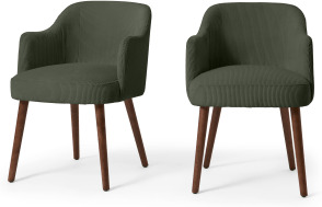An Image of Swinton Set of 2 Carver Dining Chairs, Sage Corduroy Velvet with Walnut Legs