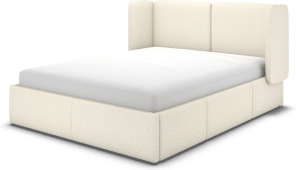 An Image of Ricola King Size Bed with Storage Drawers, Ivory White Boucle