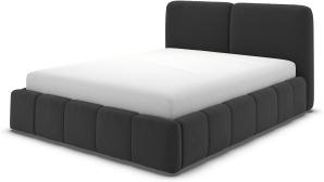 An Image of Maxmo Double Ottoman Storage Bed, Ashen Grey Cotton Velvet