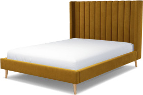 An Image of Cory King Size Bed, Dijon Yellow Cotton Velvet with Oak Legs