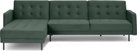 An Image of Rosslyn Left Hand Facing Chaise End Click Clack Sofa Bed, Autumn Green Velvet