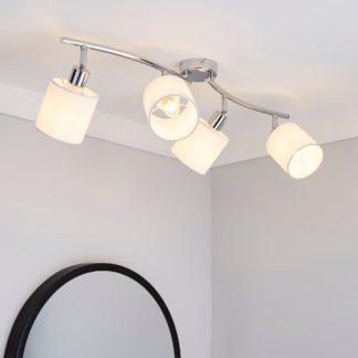 An Image of Elva 4 Light White Spotlight Bar Silver