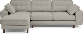 An Image of Content by Terence Conran Tobias Left Hand Facing Chaise End Sofa, Dove Grey Boucle with Dark Wood Leg