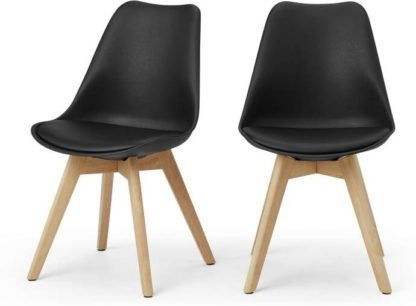 An Image of Deon Set of 2 Dining Chairs, Black with Oak Stain Legs