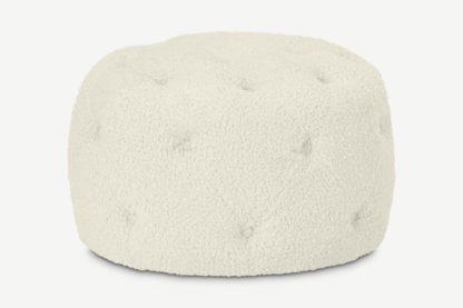 An Image of Hampton Round Pouffe, Small, Faux Sheepskin