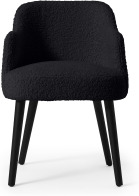 An Image of Swinton Carver Dining Chair, Black Faux Sheepskin with Black Legs