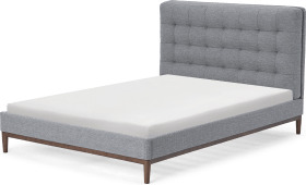 An Image of Lavelle Double Bed, Blue Grey Tonal Weave & Walnut Stain Legs