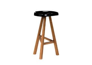An Image of Established & Sons Heidi BarStool Wood Base Gloss Black Seat