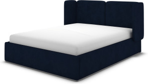 An Image of Ricola Double Ottoman Storage Bed, Prussian Blue Cotton Velvet