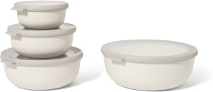 An Image of Mepal Set of 4 Shallow Lidded Storage Bowls, Nordic White