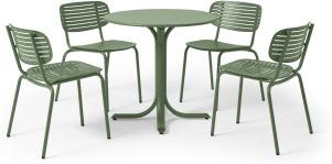 An Image of Emu 4 Seat Garden Dining Set, Green Powder-Coated Steel