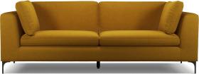 An Image of Monterosso 3 Seater Sofa, Vintage Mustard Velvet with Black Leg