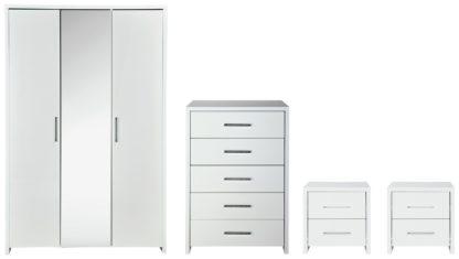An Image of Habitat Broadway Gloss 4 Piece 3 Door Wardrobe Set -White
