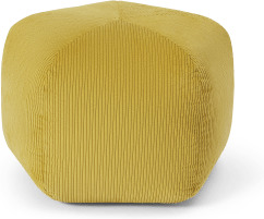 An Image of Pebble Pentagon Pouffe, Mustard Yellow Corduroy Velvet