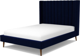 An Image of Cory Double Bed, Prussian Blue Cotton Velvet with Walnut Stained Oak Legs