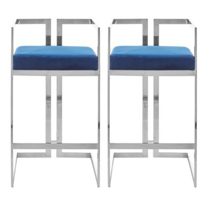 An Image of Azaltro Blue Velvet Bar Stools With Silver Metalframe In Pair