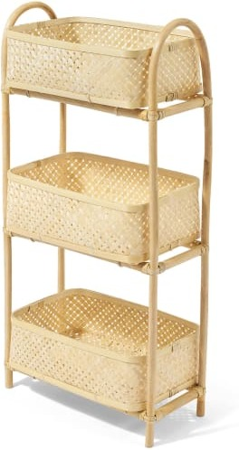 An Image of Babbo 3-Tier Storage Basket, Natural Rattan & Bamboo